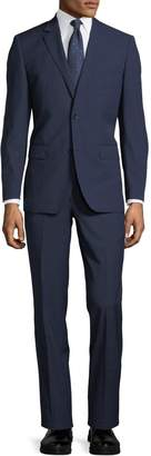 Neiman Marcus Two-Button Tonal Windowpane Two-Piece Suit, Navy