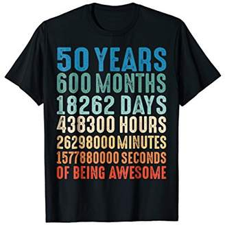 50 Years Old 50th Birthday Vintage Retro T Shirt 600 Months