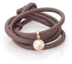 Mizuki Diamond, 12MM White Oval Pearl, 14K Yellow Gold& Leather Wrap Bracelet