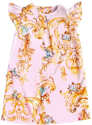 Papergirl Collection Rococo Monkeys Cotton Dress - Light/Pastel Pink, Size 5-6y
