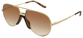 Gucci Engraved Metal Aviator Sunglasses w/ Contrast Nose Pad