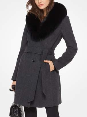 MICHAEL Michael Kors Fur-Collar Wool-Blend Coat