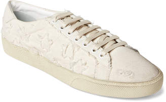Saint Laurent Cream Star-Applique Distressed Low-Top Sneakers