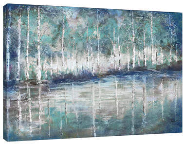 Wayfair 'Aspen Pond' by Tre Sorelle Studios Painting Print on Wrapped Canvas