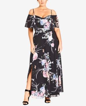 3365a05175 City Chic Trendy Plus Size Printed Cold-Shoulder Maxi Dress