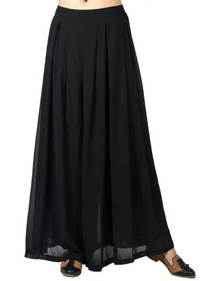 Choies Women's Chiffon Pleated Plain Elastic Waist Wide Leg Palazzo Pants