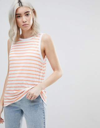 Asos DESIGN Sleeveless Scoop Back Tank in Stripe