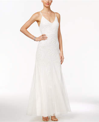 Adrianna Papell Beaded Tulle A-Line Gown $399 thestylecure.com