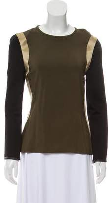 Givenchy Silk-Trimmed Long Sleeve Top w/ Tags