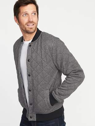 Old Navy Quilted Sweater-Fleece Bomber Jacket for Men