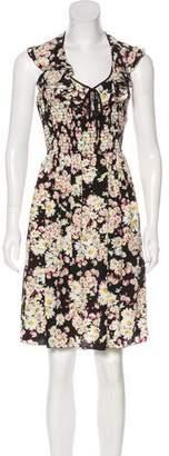 Blumarine Silk Ruffle Knee-Length Dress