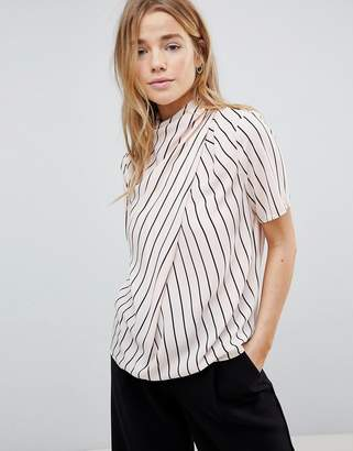 Asos DESIGN Ruched High Neck T-shirt in Stripe