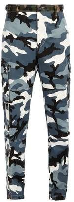Valentino Camouflage Print Cargo Trousers - Mens - Grey