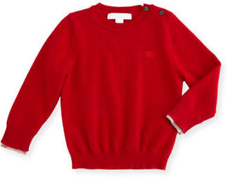 Burberry Gethin Cashmere Pullover Sweater, Military Red, Size 6M-3Y