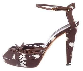 Gucci Canvas Ankle Strap Sandals