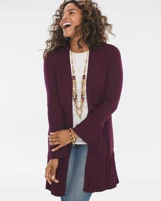 Chico's Chicos Pleated Faux-Pearl Cardigan