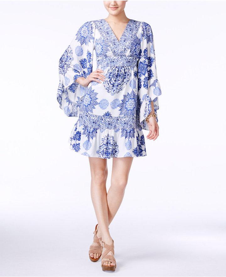 Betsey JohnsonBetsey Johnson Printed Bell-Sleeve A-Line Dress