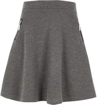 River Island Girls grey side zip ribbed skater skirt