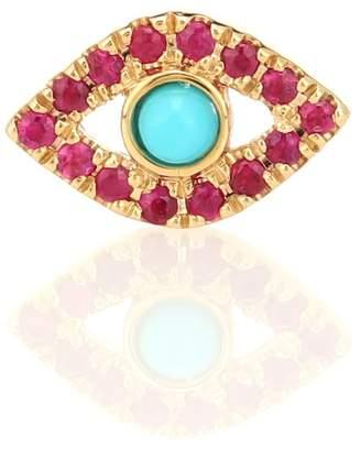 Sydney Evan Evil Eye ruby & turquoise earring