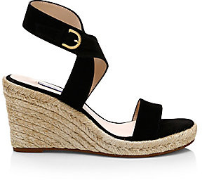 Stuart Weitzman Women's Lexia Suede Wedge Sandals