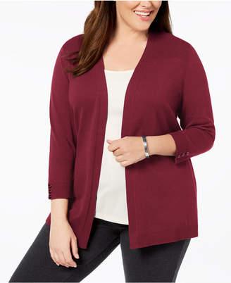 Karen Scott Plus Size 3/4-Sleeve Open-Front Cardigan, Created for Macy's