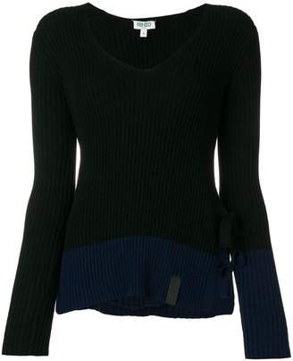 Kenzo ribbed tie side slit sweater