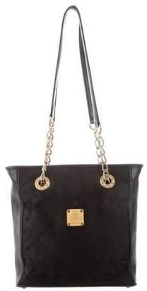 MCM Monogram Leather-Trimmed Shoulder Bag