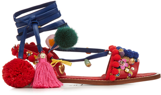 DOLCE & GABBANA Pompom-embellished leather flat sandals $1,909 thestylecure.com