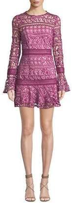 Caprice La Maison Talulah Long-Sleeve Floral-Lace Short Dress