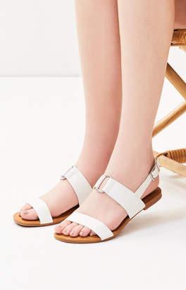 LA Hearts White Two Strap Ring Sandals
