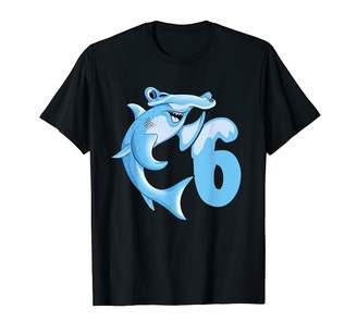 Hammerhead Birthday Shark Shirts For Kids. Sixth Birthday Shark Shirt 6th Hammerhead Kids Boys Girls T-Shirt