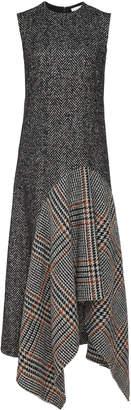 Oscar de la Renta Plaid-Paneled Wool-Blend Tweed Midi Dress