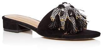 Rebecca Minkoff Women's Kayleigh Embellished Suede Low Block Heel Slide Sandals