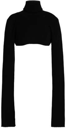 Ann Demeulemeester Cropped Ribbed Wool Turtleneck Sweater