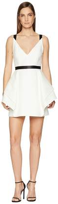 Halston Sleeveless V-Neck Dramatic Flounce Skirt Women's Dress