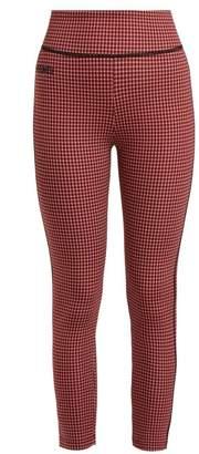 Fendi High Rise Checked Leggings - Womens - Red Multi