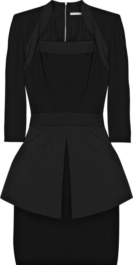 Victoria Beckham Silk and cotton-blend peplum mini dress