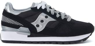 Saucony Sneaker Shadow In Black Suede And Mesh