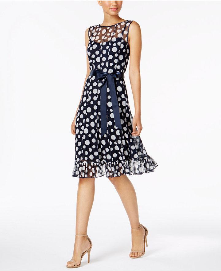 Jessica Howard Chiffon Printed Ruffled Dress