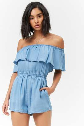 Forever 21 Flounce Chambray Romper