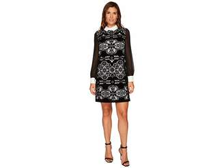 CeCe Chiffon Sleeve Velvet Lace Collared Dress Women's Dress