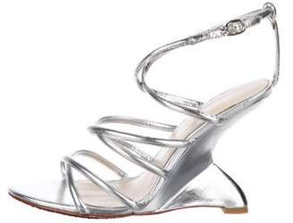 Charles Jourdan Metallic Leather Wedges