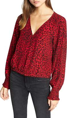 Sanctuary Animal Print Smock Detail Blouse