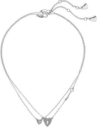 Betsey Johnson Blue by Silver Tone Necklace Featuring Blue Heart and Heart Lock and Key Details, Includes Set of 2 Necklaces ...