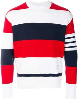 Thom Browne Engineered Rugby Stripe Drop-Shoulder Crewneck Jersey Sweatshirt