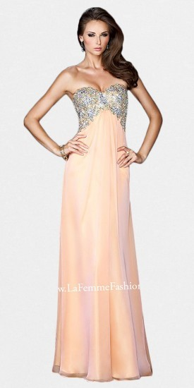 La Femme Strapless Beaded Bust Multiple Backstrap Prom Dresses