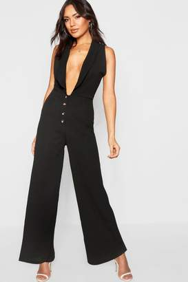 3c974d2def8 at boohoo · boohoo Plunge Horn Button Jumpsuit