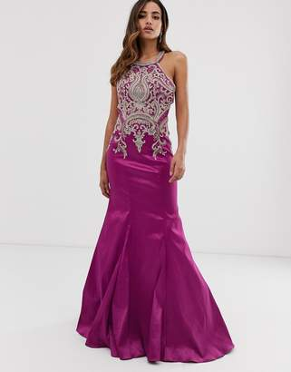 Jovani fishtail maxi dress with embellished detail