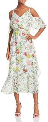 Nanette Lepore nanette Cold-Shoulder Floral Print Midi Dress