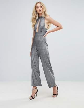 Love High Neck Keyhole Jumpsuit In Metallic Foil
